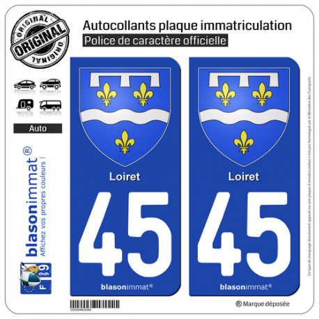 2 Autocollants plaque immatriculation Auto 45 Loiret - Armoiries