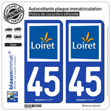 2 Autocollants plaque immatriculation Auto 45 Loiret - Tourisme