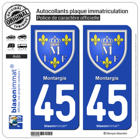 2 Autocollants plaque immatriculation Auto 45 Montargis - Armoiries