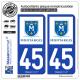 2 Autocollants plaque immatriculation Auto 45 Montargis - Ville
