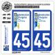 2 Autocollants plaque immatriculation Auto 45 Montargis - Agglo