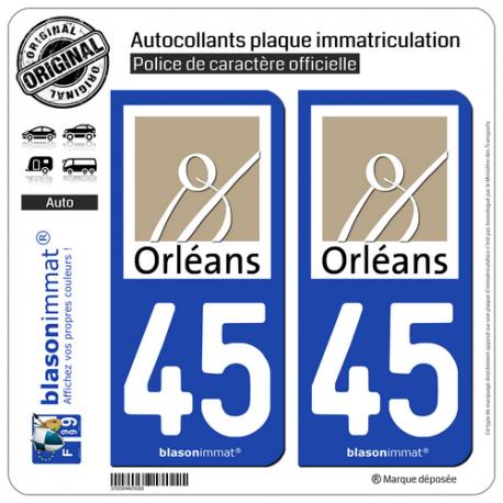 2 Autocollants plaque immatriculation Auto 45 Orléans - Ville