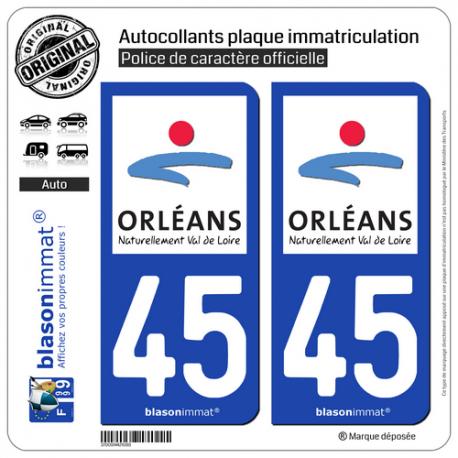 2 Autocollants plaque immatriculation Auto 45 Orléans - Agglo
