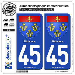2 Autocollants plaque immatriculation Auto 45 Pithiviers - Armoiries