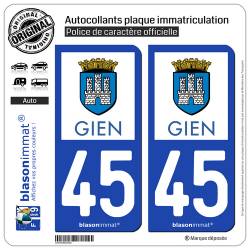 2 Autocollants plaque immatriculation Auto 45 Gien - Commune