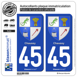 2 Autocollants plaque immatriculation Auto 45 Chaussy - Armoiries