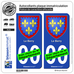 2 Autocollants plaque immatriculation Auto | Berry - Armoiries