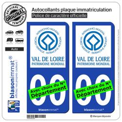 2 Autocollants plaque immatriculation Auto Val de Loire - Patrimoine