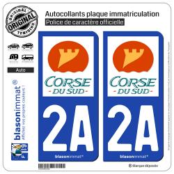 2 Autocollants plaque immatriculation Auto 2A Corse du Sud - Département