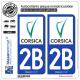 2 Autocollants plaque immatriculation Auto 2B Corse - Collectivité Territoriale