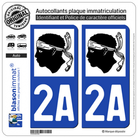2 Autocollants plaque immatriculation Auto 2A Corse - LogoType