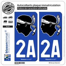 2 Autocollants plaque immatriculation Auto 2A Corsica - Tête de Maure