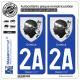 2 Autocollants plaque immatriculation Auto 2A Corsica - Armoiries