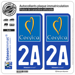 2 Autocollants plaque immatriculation Auto 2A Corsica - Tourisme