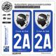 2 Autocollants plaque immatriculation Auto 2A Corse du Sud - Armoiries