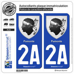 2 Autocollants plaque immatriculation Auto 2A Pumonte - Armoiries