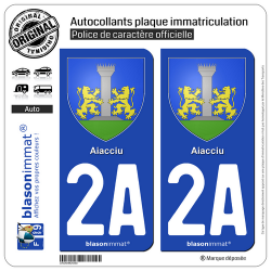 2 Autocollants plaque immatriculation Auto 2A Aiacciu - Armoiries