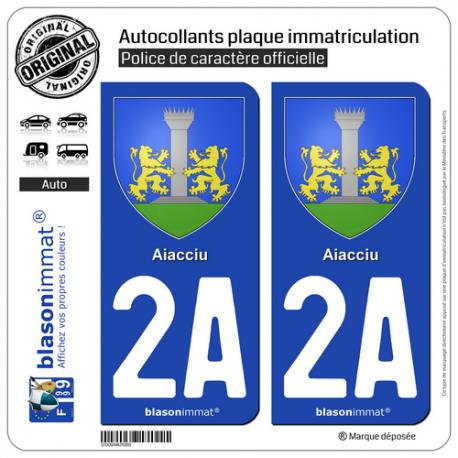 2 Autocollants plaque immatriculation Auto 2A Aiacciu - Armoiries