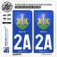 2 Autocollants plaque immatriculation Auto 2A Ajaccio - Armoiries