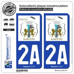 2 Autocollants plaque immatriculation Auto 2A Ajaccio - Ville