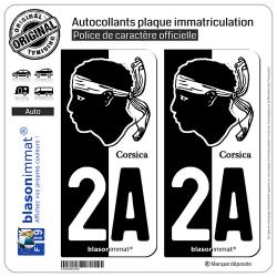 2 Autocollants plaque immatriculation Auto 2A Corsica - Collector