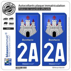2 Autocollants plaque immatriculation Auto 2A Bonifacio - Armoiries