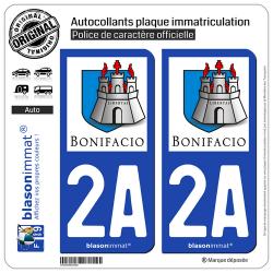 2 Autocollants plaque immatriculation Auto 2A Bonifacio - Citadelle