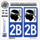 2 Autocollants plaque immatriculation Auto 2B Corse - LogoType