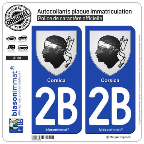 2 Autocollants plaque immatriculation Auto 2B Corsica - Armoiries