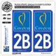2 Autocollants plaque immatriculation Auto 2B Corsica - Tourisme