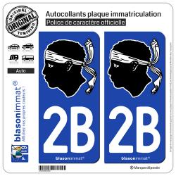 2 Autocollants plaque immatriculation Auto 2B Corsica - Tête de Maure