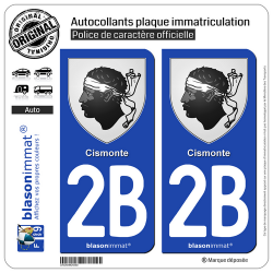 2 Autocollants plaque immatriculation Auto 2B Cismonte - Armoiries
