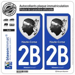 2 Autocollants plaque immatriculation Auto 2B Haute-Corse - Armoiries