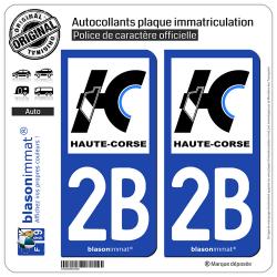 2 Autocollants plaque immatriculation Auto 2B Haute-Corse - Département