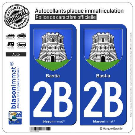 2 Autocollants plaque immatriculation Auto 2B Bastia - Armoiries
