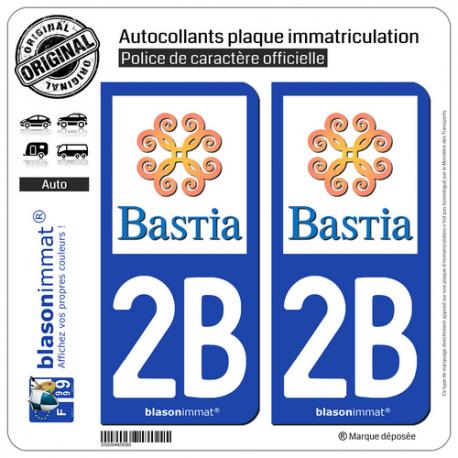 2 Autocollants plaque immatriculation Auto 2B Bastia - Ville