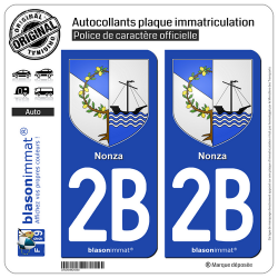 2 Autocollants plaque immatriculation Auto 2B Nonza - Armoiries