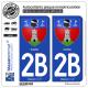 2 Autocollants plaque immatriculation Auto 2B Corte - Armoiries