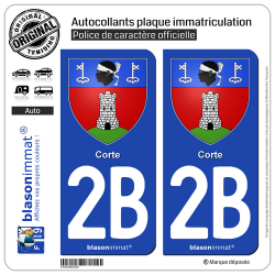 2 Autocollants plaque immatriculation Auto 2B Corte - Armoiries