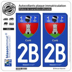 2 Autocollants plaque immatriculation Auto 2B Corti - Armoiries