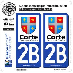 2 Autocollants plaque immatriculation Auto 2B Corte - Ville