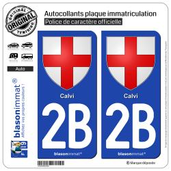 2 Autocollants plaque immatriculation Auto 2B Calvi - Armoiries