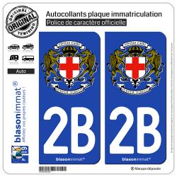 2 Autocollants plaque immatriculation Auto 2B Calvi - Commune