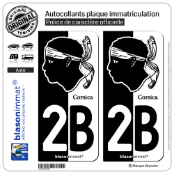2 Autocollants plaque immatriculation Auto 2B Corsica - Collector