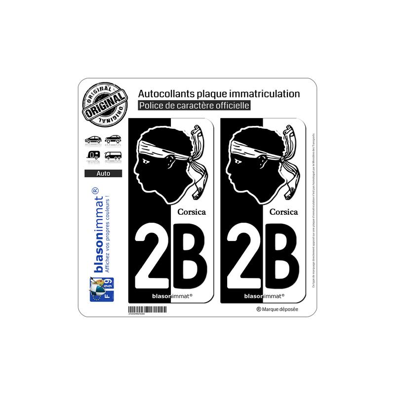 autocollant plaque immatriculation 2b corsica collector. Black Bedroom Furniture Sets. Home Design Ideas