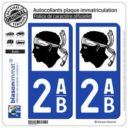 2 Autocollants plaque immatriculation Auto 2AB Corse - LogoType