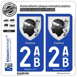 2 Autocollants plaque immatriculation Auto 2AB Corsica - Armoiries