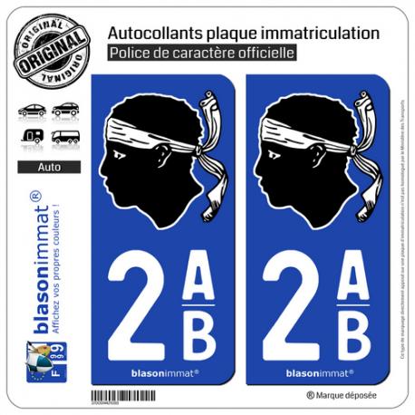 2 Autocollants plaque immatriculation Auto 2AB Corsica - Tête de Maure