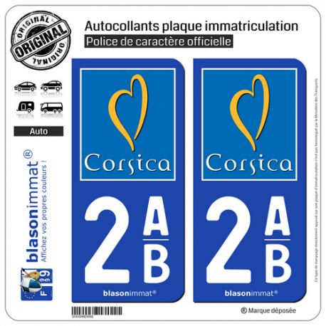 2 Autocollants plaque immatriculation Auto 2AB Corsica - Tourisme