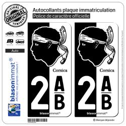 2 Autocollants plaque immatriculation Auto 2AB Corsica - Collector